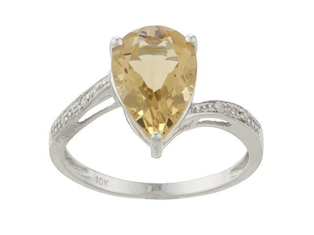 10k White Gold Pear Citrine and Diamond Ring - size 5