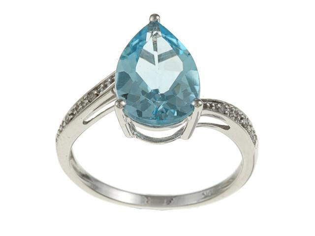 10k White Gold Pear Blue Topaz and Diamond Ring - size 5