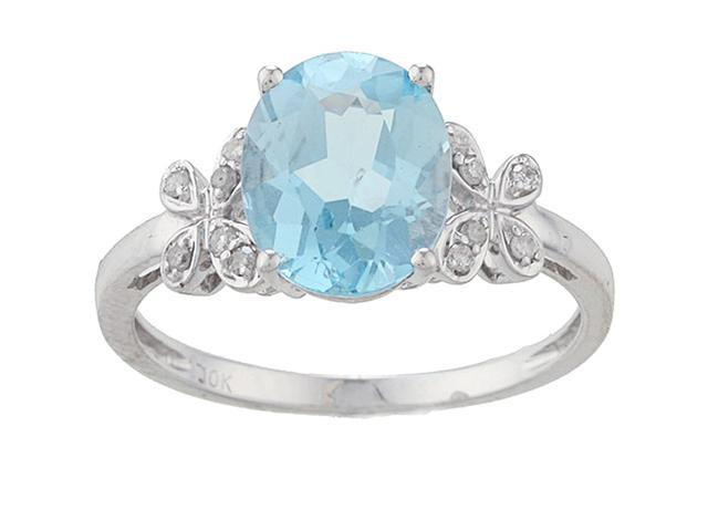 10k White Gold Oval Blue Topaz and Diamond Ring (1/10 TDW)- size 8