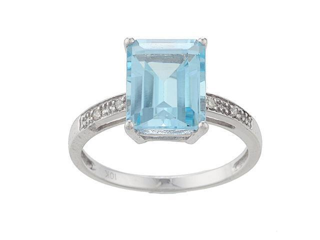 10k White Gold Emerald-Cut Blue Topaz and Diamond Ring - size 6