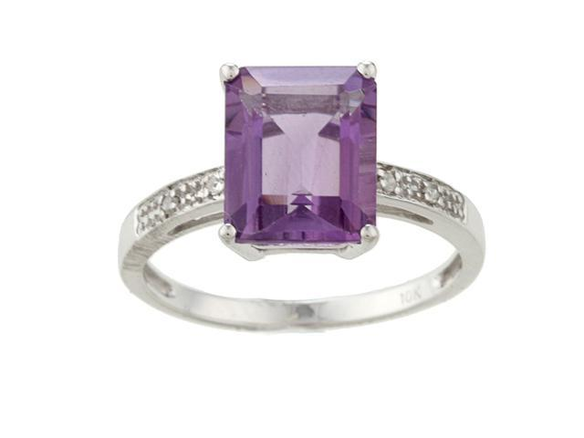 10k White Gold Emerald-Cut Amethyst and Diamond Ring - size 6