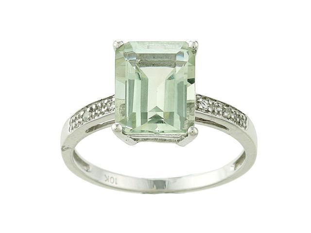10k White Gold Emerald-Cut Green Amethyst and Diamond Ring - size 8
