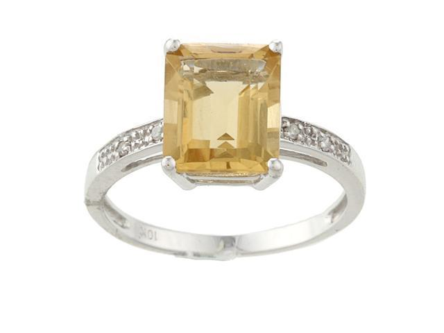 10k White Gold Emerald-Cut Citrine and Diamond Ring - size 6