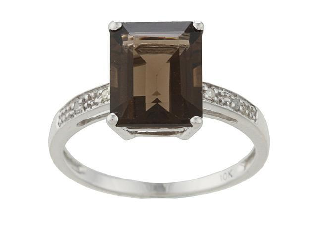 10k White Gold Emerald-Cut Smokey Topaz and Diamond Ring - size 6