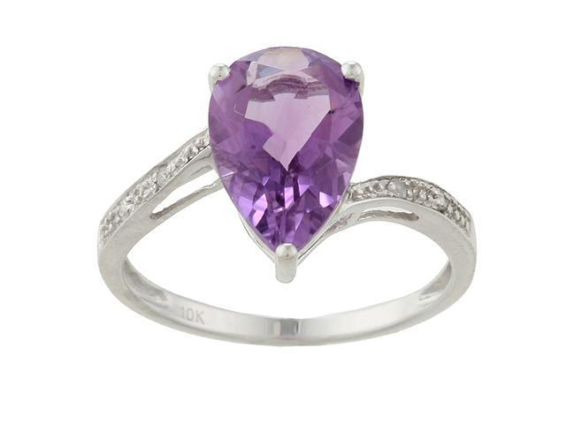 10k White Gold Pear Amethyst and Diamond Ring - size 8