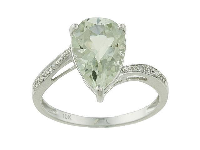10k White Gold Pear Green Amethyst and Diamond Ring - size 6