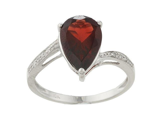 10k White Gold Pear Garnet and Diamond Ring - size 6.5
