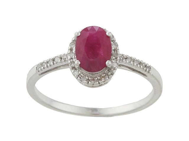 10k White Gold Genuine Ruby and Diamond Ring (1/8 TDW)- size 7