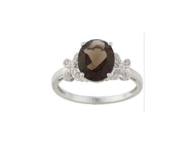 10k White Gold Oval Smokey Topaz and Diamond Ring (1/10 TDW)- size 8