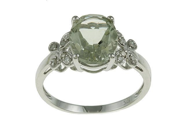 10k White Gold Oval Green Amethyst and Diamond Ring (1/10 TDW) - size 8