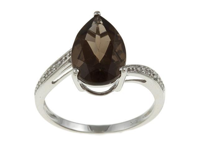 10k White Gold Pear Smokey Topaz and Diamond Ring - size 6