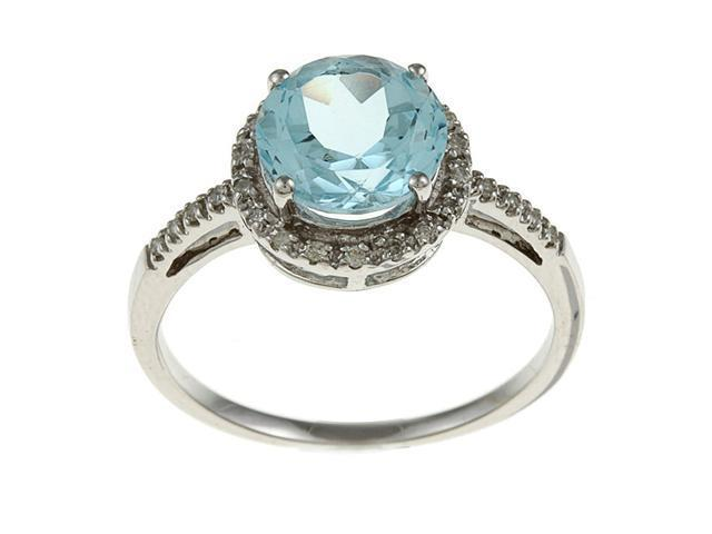 10k White Gold Round Blue Topaz and Diamond Ring (1/8 TDW) - size 8