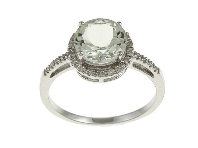 10k White Gold Round Green Amethyst and Diamond Ring (1/8 TDW) - size 7.5