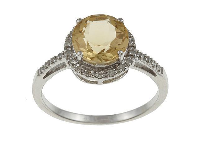 10k White Gold Round Citrine and Diamond Ring (1/8 TDW) - size 6.5