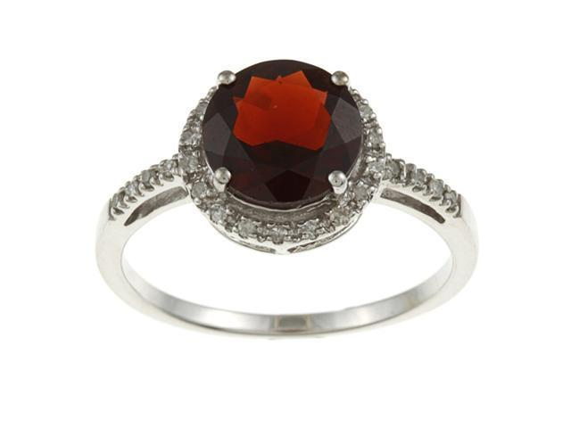 10k White Gold Round Garnet and Diamond Ring (1/8 TDW) - size 8