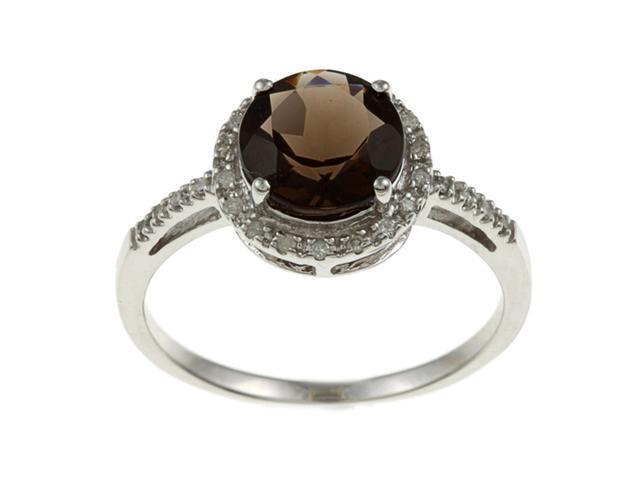 10k White Gold Round Smokey Topaz and Diamond Ring (1/8 TDW) - size 5.5