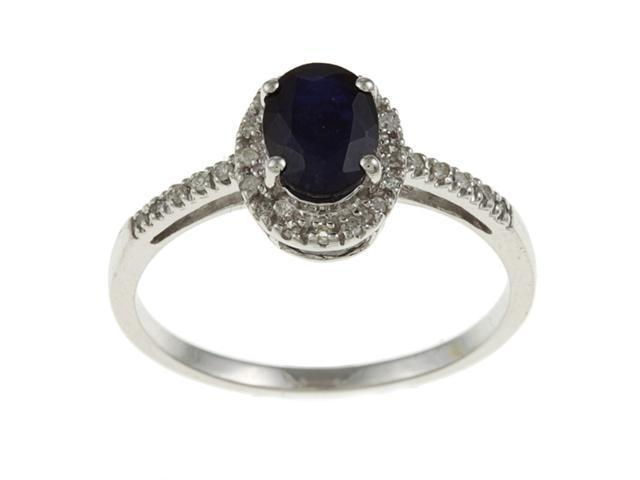 10k White Gold Genuine Blue Sapphire and Diamond Ring (1/8 TDW)- size 8