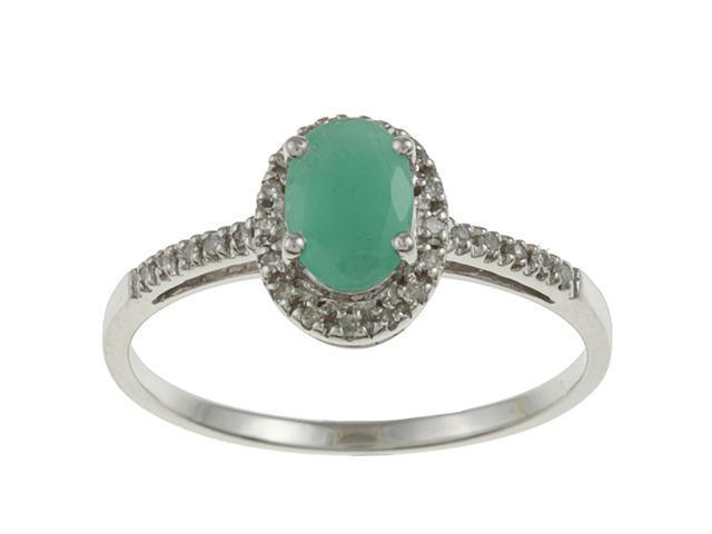 10k White Gold Genuine Emerald and Diamond Ring (1/8 TDW)- size 6