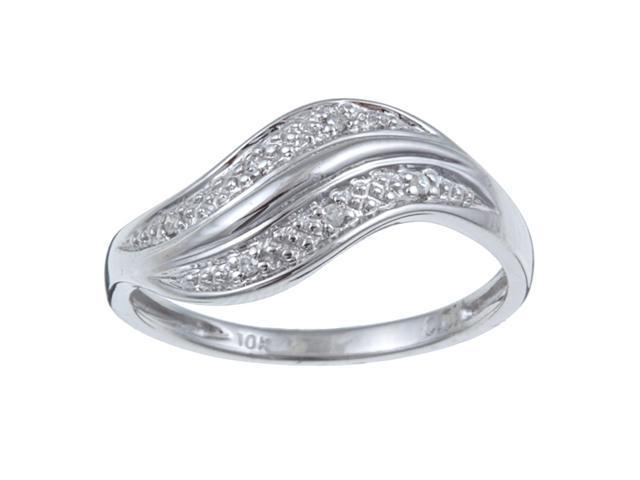 Pave Curved Diamond Ring in Sterling Silver (G-H, I1-I2)