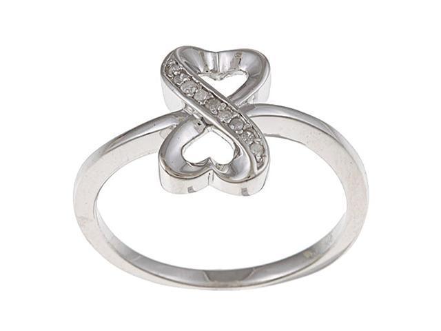 Sterling Silver 1/10ct TDW Diamond Heart Ring (G-H, I1-I2)