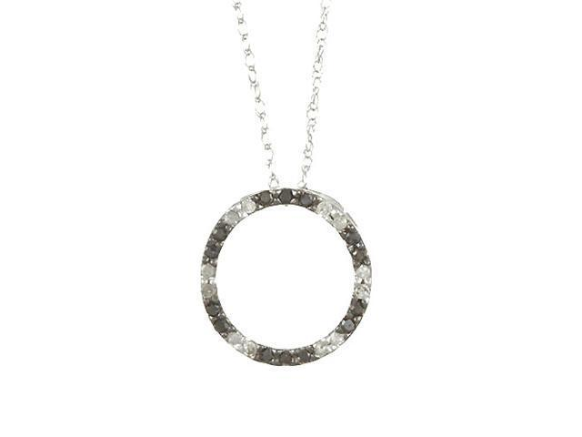 White Gold 1/5ct Black Diamond Circle Pendant Necklace (G-H, I1-I2)