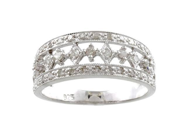 Sterling Silver 1/2ct TDW Vintage Antique Style Pave Diamond Ring (G-H, I1-I2)