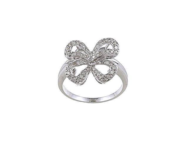 Sterling Silver 1/3 TDW Diamond Bow Ring (G-H, I1-I2)