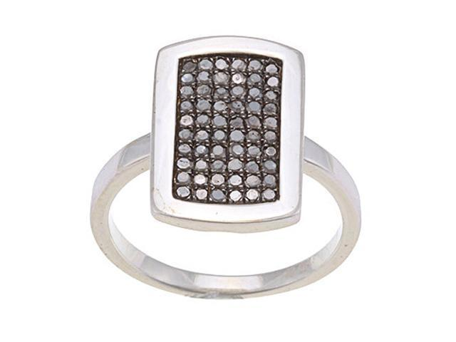 Sterling Silver 1/2ct TDW Micro Pave Black Diamond Ring (G-H, I1-I2)