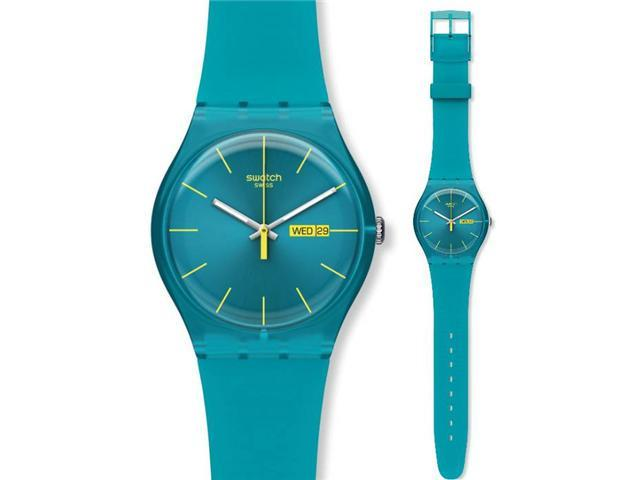 Swatch Rebel Turquoise Silicone Mens Watch SUOL700