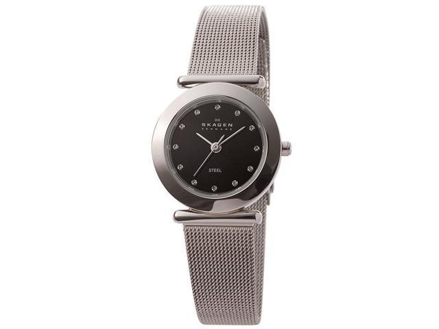 Skagen Black Dial Swarovski Crystal Stainless Steel Ladies Watch 107SSSBD