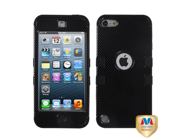 MYBAT TUFF Dual Layer Hybrid Carbon Fiber/Black Media Player Protector Case Compatible With Apple® iPod Touch 5