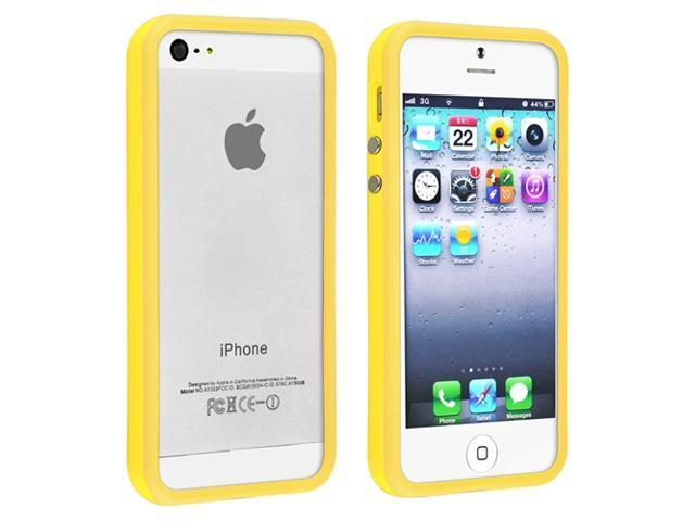 Apple iPhone 5/5S Case, eForCity TPU Rubber Candy Skin [Anti-Shock] Bumper Case Cover for Apple iPhone 5/5S, Yellow