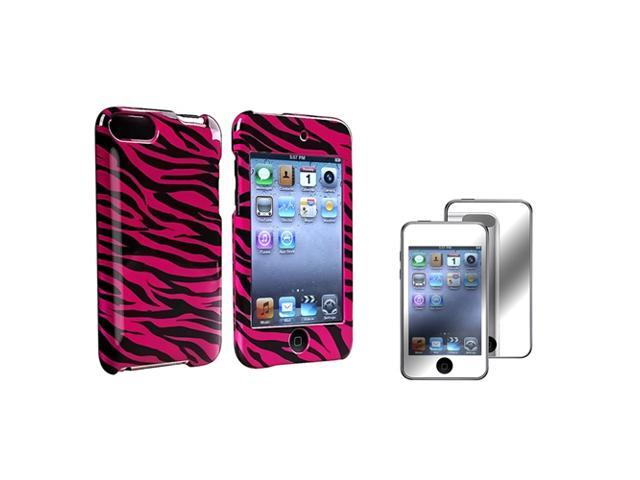 Hot Pink Zebra Rubber Coated Case + Mirror Screen Protector Compatible with Apple® iPod touch 2nd / 3rd Generation
