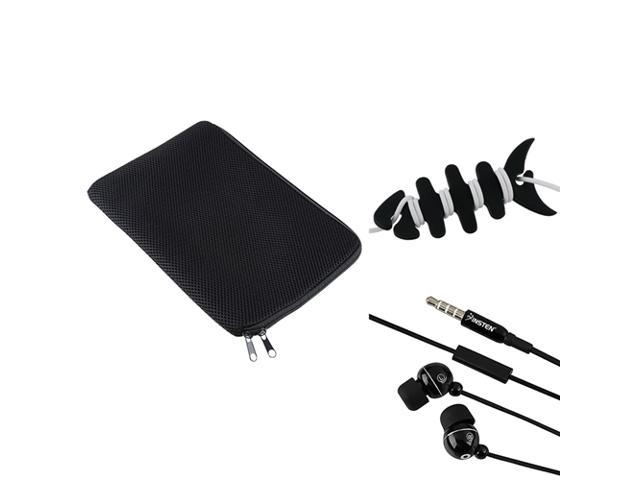 eForCity Black 10 inch Tablet Sleeve And Black Fishbone Headset Smart Wrap And Black Ball head 3.5mm Headset In-ear Stereo ...