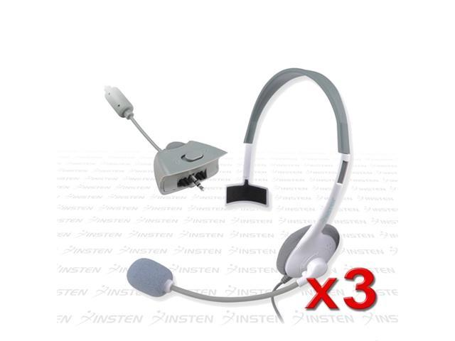 eForCity 3 x Game Live White Headset Headphone w/Mic For Microsoft xBox 360 Controller