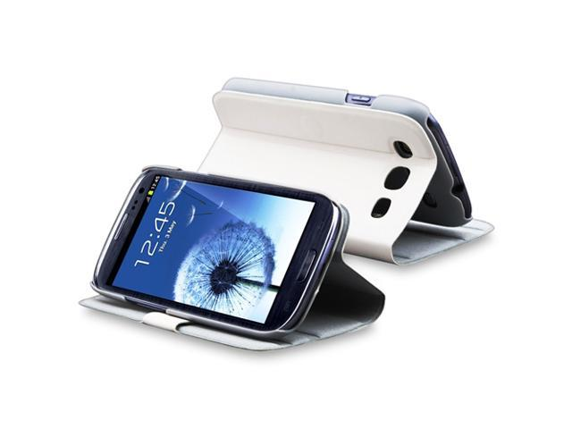 eForCity Leather Case with Stand Compatible With Samsung© Galaxy SIII / S3 , White