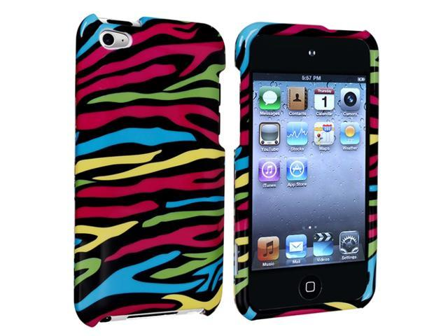 eForCity Snap-On Case Compatible With Apple iPod Touch 4th Gen, Black / Colorful Zebra