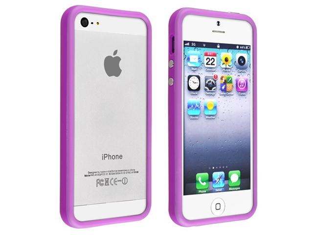 Apple iPhone 5/5S Case, eForCity TPU Rubber Candy Skin [Anti-Shock] Bumper Case Cover for Apple iPhone 5/5S, Purple