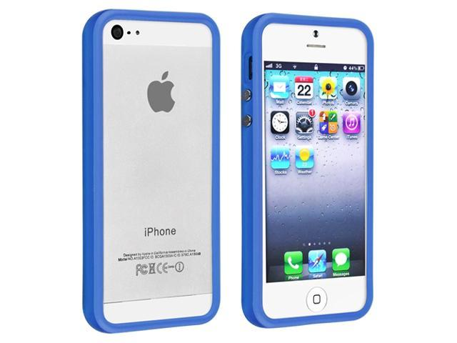 Apple iPhone 5/5S Case, eForCity TPU Rubber Candy Skin [Anti-Shock] Bumper Case Cover for Apple iPhone 5/5S, Blue