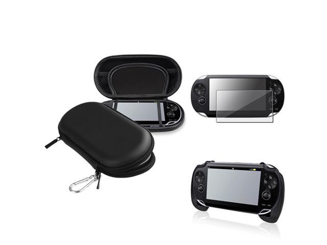 eForCity Black Hand Grip + Reusable Screen Protector + Black Eva Case Compatible With Sony Playstation Vita