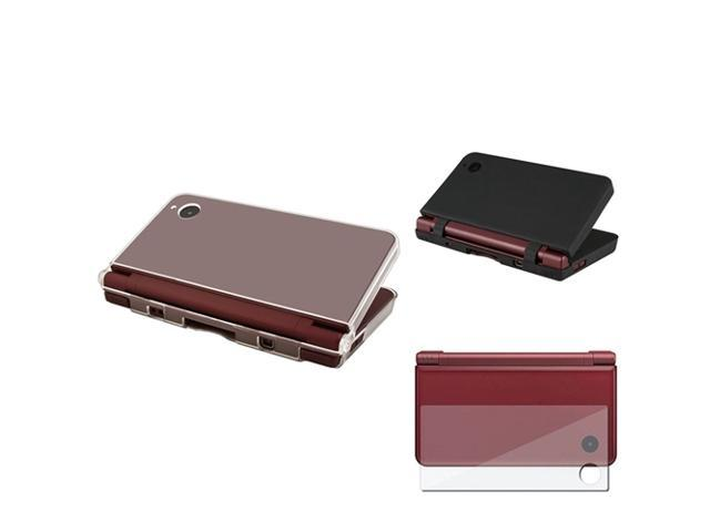 Silicone Skin Case(Black) + Crystal Hard Case for Nintendo DSi LL XL With Screen Protector