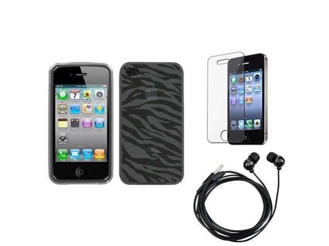 eForCity Headset + LCD Cover + Smoke Zebra Skin Candy Skin Cover compatible with Apple® iPhone 4S/4