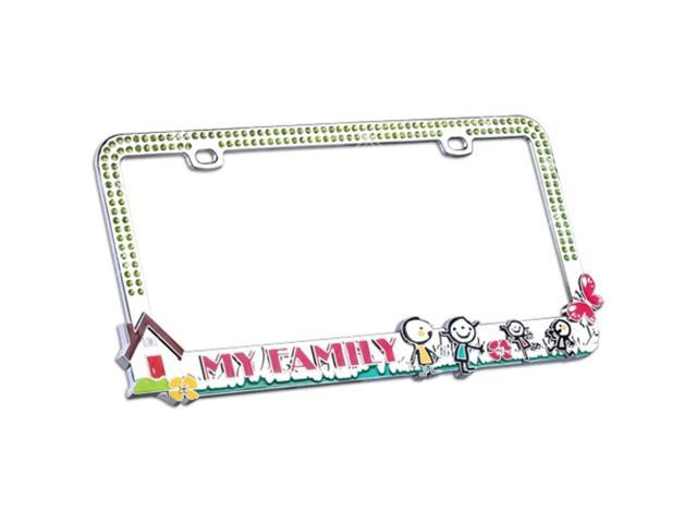 Valor Auto Companion LPF2MC027GRN Lovely Family Design Metal License Plate Frame with Green Crystals