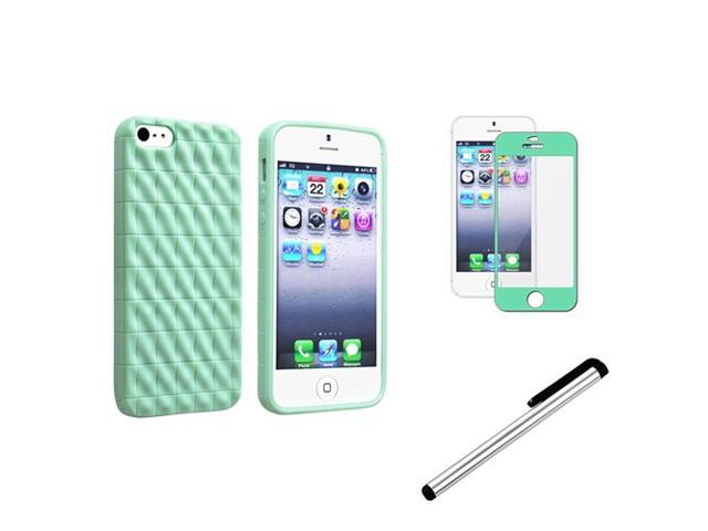 eForCity Mint Green 3D Wave TPU Rubber Skin Case + Mint Green Colorful Frame Screen Protector + Silver Universal Touch Screen Stylus Bundle for Apple iPhone 5 / 5S