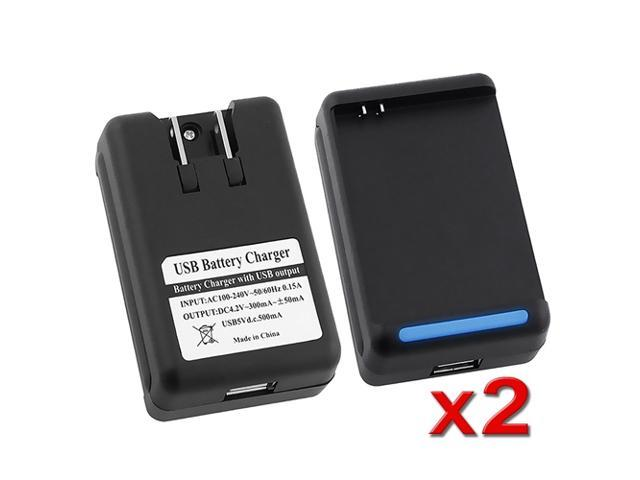 eForCity 2x Black USB Dock Wall Battery Charger Compatible with Samsung© Galaxy Note N7000 i717