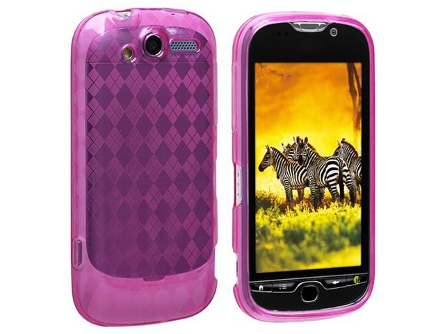 TPU Rubber Skin Case compatible with HTC T-Mobile myTouch 4G, Clear Hot Pink Argyle