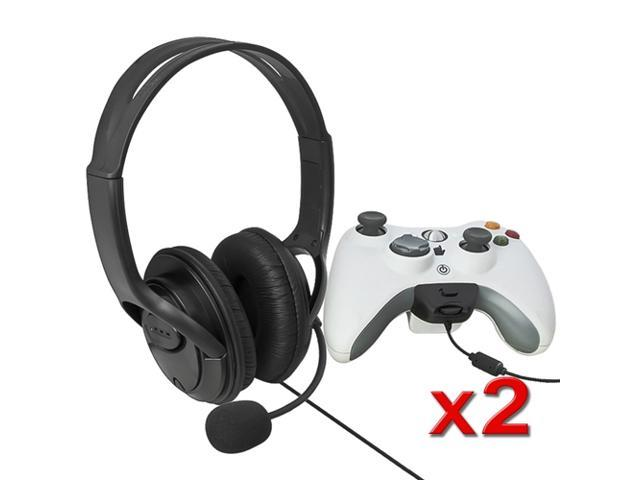 eForCity Two Black Big Headset with Microphone MIC Eraphone for Xbox 360 Xbox360 LIVE