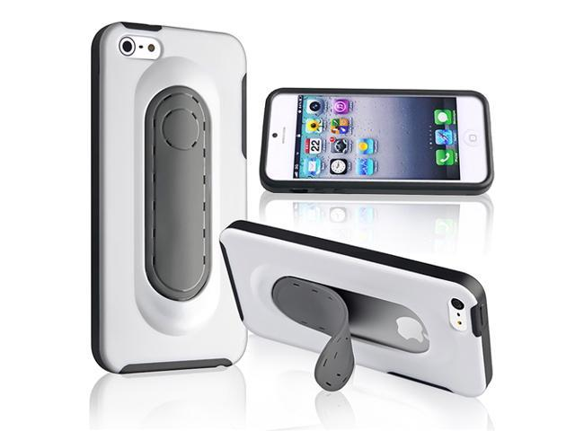 Apple iPhone 5/5S Case, eForCity Stand TPU Rubber Candy Skin Case Cover for Apple iPhone 5/5S, White/Gray