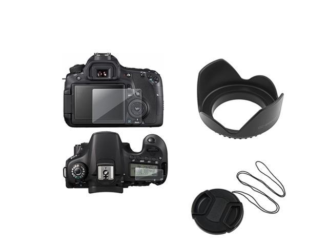 eForCity Clear LCD Screen Protector + 58mm Flower Lens Hood + 58mm Snap On Lens Cap with Strap for Canon EOS 60D SLR Digital ...