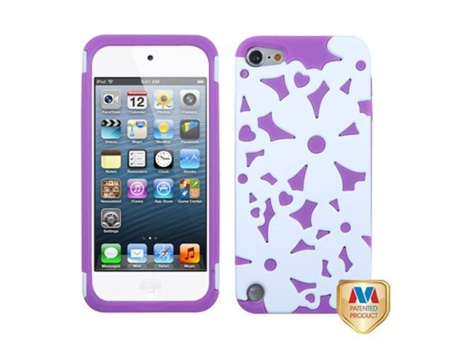 MYBAT Rubberized Solid Ivory White/Electric Purple Flower Shape Fishbone Phone Protector Cover